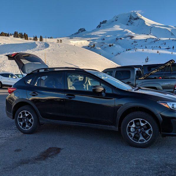 Subaru Crosstrek parked in front of Mt. Hood